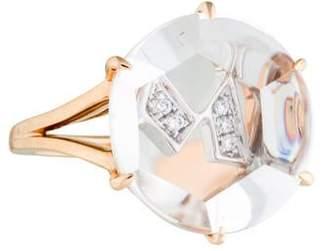 "Frederic Sage 18K Diamond & Quartz Initial ""M"" Cocktail Ring"