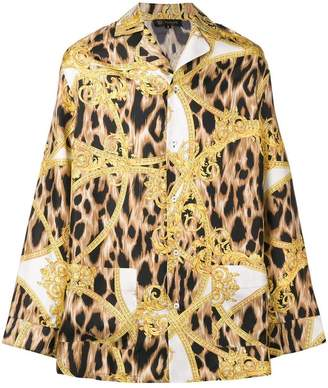 Versace baroque leopard print pyjama shirt