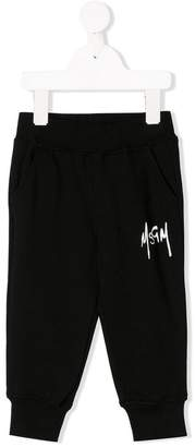 MSGM Kids logo print track trousers