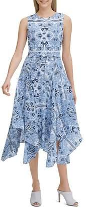 Calvin Klein Printed Handkerchief-Hem Dress