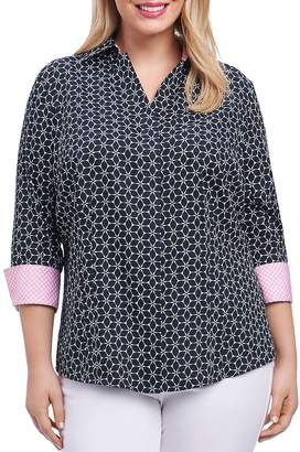 Foxcroft Plus Optic Floral-Print Button-Down Top