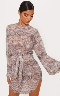 9a7fcb5be6bf PrettyLittleThing Grey Snake Print Sheer Glitter Plisse Shift Dress