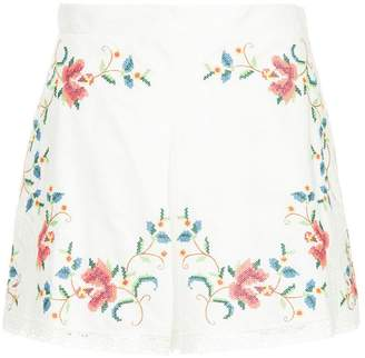 Zimmermann embroidered floral shorts