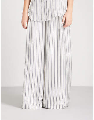 Zimmermann Painted Heart wide high-rise satin-twill trousers