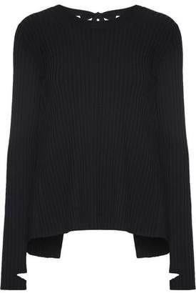 Helmut Lang Open-Back Ribbed-Knit Sweater