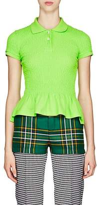 Balenciaga Women's Smocked Cotton Piqué Polo Shirt - Green