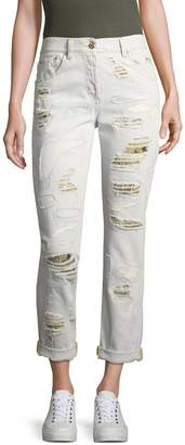 Roberto Cavalli Women's Distressed Cropped Jeans