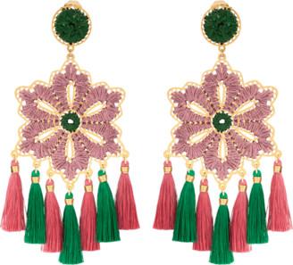 Mercedes Salazar Rose Hibiscus Earrings