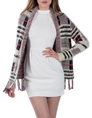 Aerusi Women's Knit Plaid Cardigan