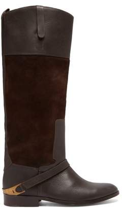 Golden Goose Charlye Leather And Suede Knee High Boots - Womens - Dark Brown