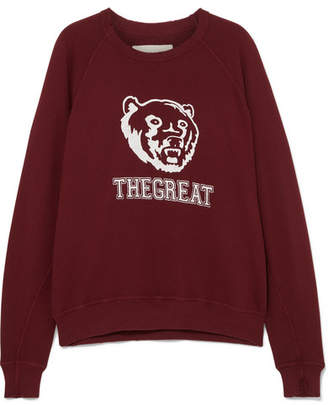 The Great The College Printed Cotton-jersey Sweatshirt - Red