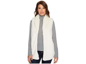 True Grit Dylan by Textured Silky Faux Fur Shawl Collar Vest Women's Vest