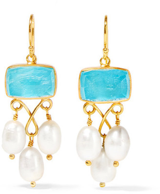 Katerina Makriyianni - Gold-plated, Pearl And Quartz Earrings - White $420 thestylecure.com