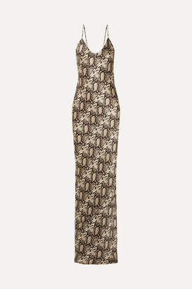 Nili Lotan Snake-print Silk-satin Maxi Dress - Snake print