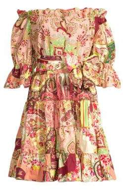 Etro Paisley Off-The-Shoulder Fit-&-Flare Dress