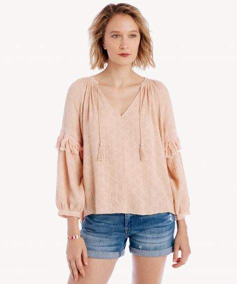 Split Neck Blouson Sleeve Top w/ Fringe