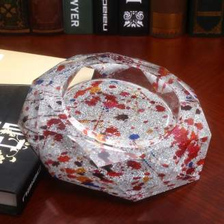 Camilla And Marc FACAIG Multi-Colored dot Pattern Octagon Bright Crystal Color Ashtray Glass Fashion Creative Personality Gifts (Size: 25*25*5 cm).