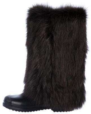 Marni Wellington Fox Fur Boots
