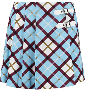 Marc by Marc Jacobs Wrap-Effect Checked Cotton-Blend Poplin Mini Skirt