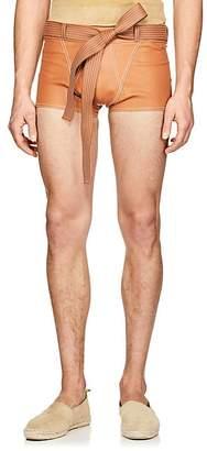 Loewe Men's Trapunto-Stitched-Belt Leather Shorts