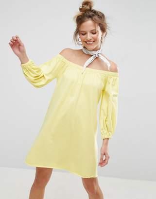 Asos Design Off Shoulder Sweat Dress With Bell Sleeve