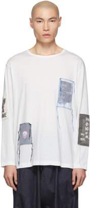 Yohji Yamamoto Off-White Patched Long Sleeve T-Shirt
