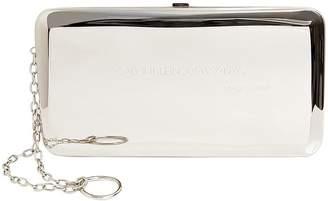 Calvin Klein Medium Silver Metal Box Clutch
