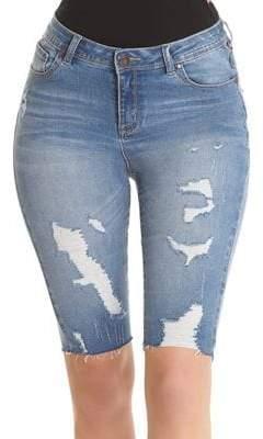 Dest Slim-Fit Distressed Denim Bermuda Shorts