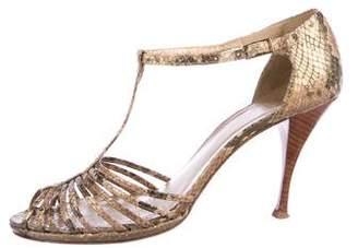 Stuart Weitzman Multistrap Snakeskin Sandals
