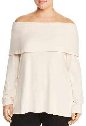 Bobeau B Collection by Curvy Off-the-Shoulder Overlay Sweater