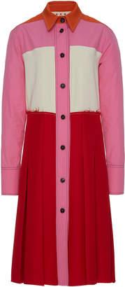 Marni Long Sleeve Pleated Twill Dress
