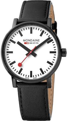 Mondaine Men's 'SBB' Swiss Quartz Stainless Steel and Leather Casual Watch, Color Black (Model: MSE.40111.LB)