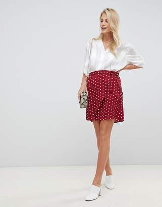 Vila polka dot wrap skirt