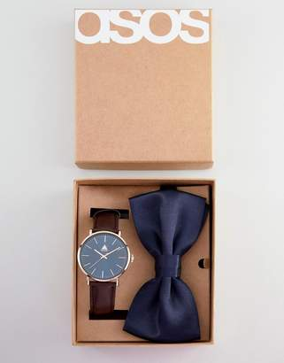 Asos Design DESIGN Watch And Bowtie Set In Brown And Navy