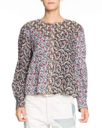 Etoile Isabel Marant Loris Mixed-Print Long-Sleeve Cotton Blouse
