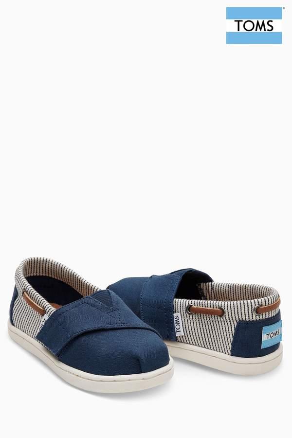 Boys Toms Navy Canvas Stripes Velcro Bimini Shoe - Blue