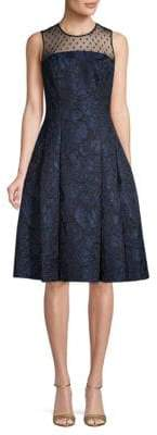 Carmen Marc Valvo Brocade Knee-Length Party Dress