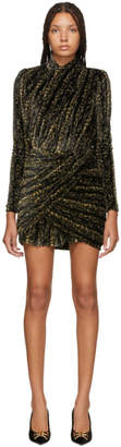 Balenciaga Black and Gold Draped Dress