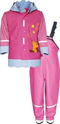 Playshoes Baby Girls' Regenanzug, Regen-Set DIE MAUS Blümchen Rain Jacket, Pink 18