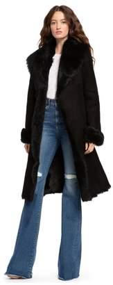 Alice + Olivia Jacks Black Shearling Long Coat