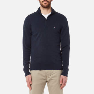 Tommy Hilfiger Men's Plaited Cotton/Silk Zip Neck Knit Sweater