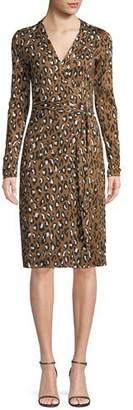 Diane von Furstenberg Cybil Banded Leopard-Print Silk Jersey Wrap Dress