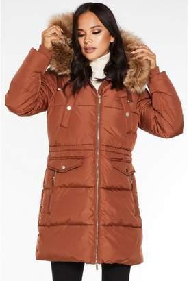 Quiz Rust Padded Fur Trim Hooded Jacket