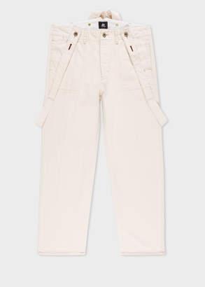 Paul Smith Men's Cream Denim Wide Leg Red Ear Trousers