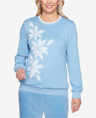 Alfred Dunner Simply Irresistible Embellished Applique Sweatshirt