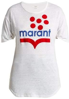 Etoile Isabel Marant Koldia Logo Print Slub Linen T Shirt - Womens - White