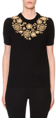 Dolce & Gabbana Cashmere Short-Sleeve Floral Embroidered Sweater