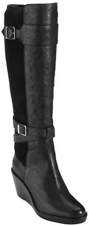 Cole Haan Patricia Tall Leather Wedge Boots with Buckle Accents