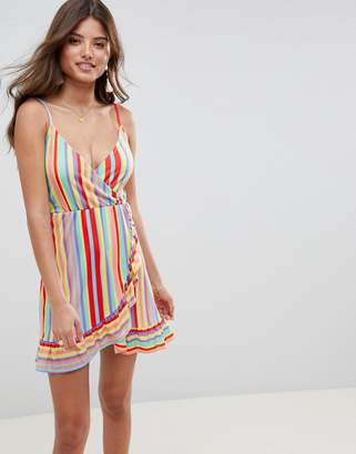 Asos DESIGN wrap mini sundress with frill detail in bright stripe
