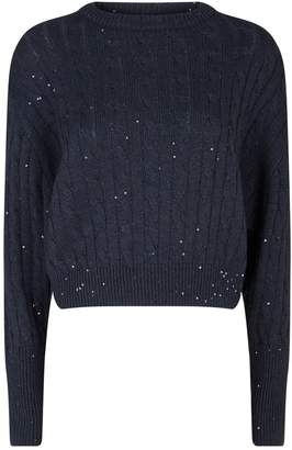 Brunello Cucinelli Sequin Embellished Cable-Knit Sweater